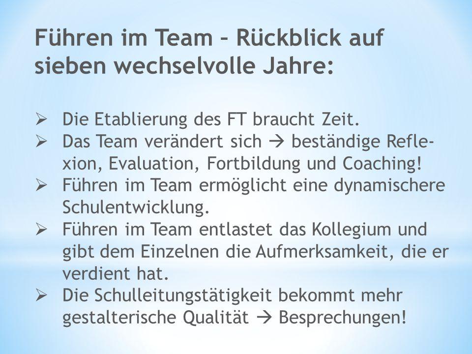 Führen im Team – Rückblick auf sieben wechselvolle Jahre:  Die Etablierung des FT braucht Zeit.  Das Team verändert sich  beständige Refle- xion, E