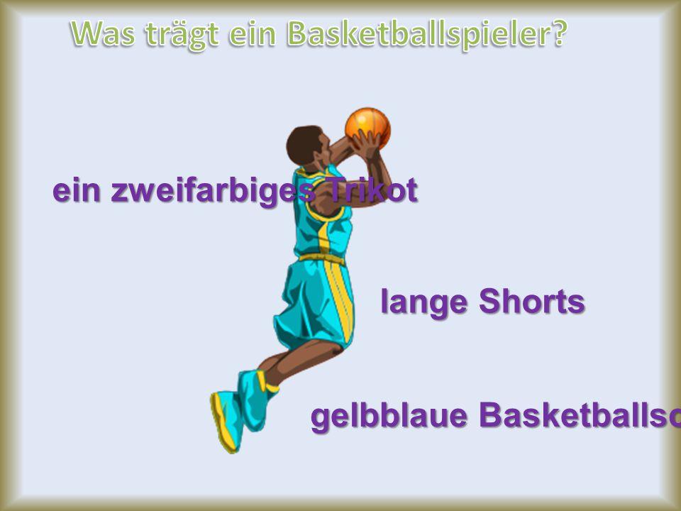 ein zweifarbiges Trikot lange Shorts gelbblaue Basketballschuhe