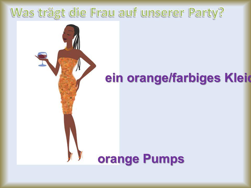 orange Pumps ein orange/farbiges Kleid