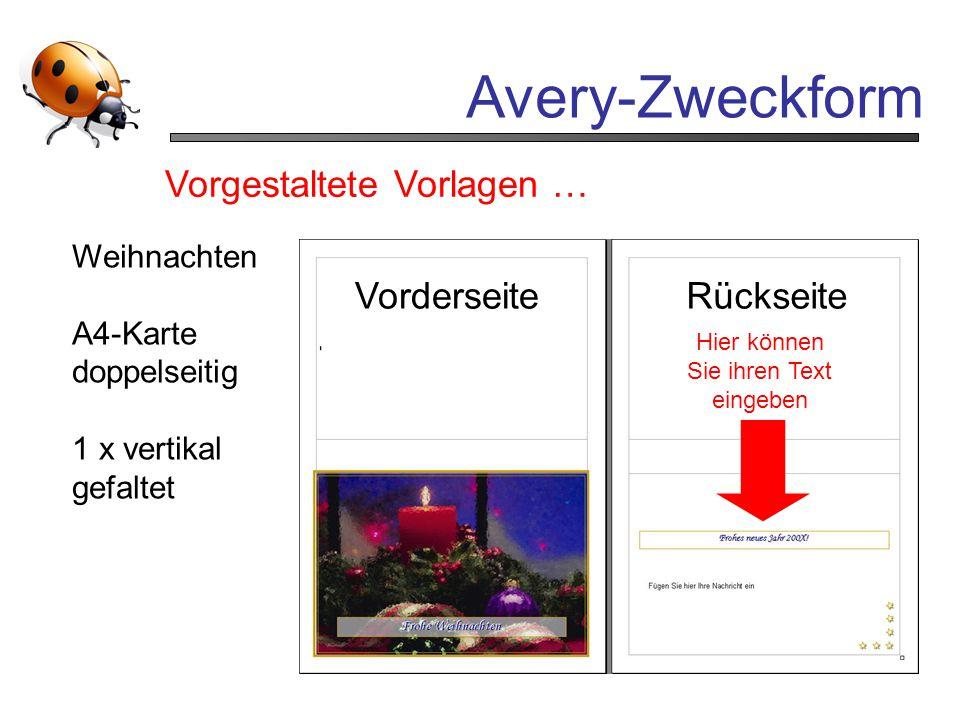 Avery-Zweckform Vorgestaltete Vorlagen … Hier können Sie ihren Text eingeben Weihnachten A4-Karte doppelseitig 1 x vertikal gefaltet VorderseiteRückse