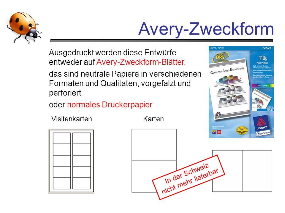 Avery-Zweckform VisitenkartenKarten Ausgedruckt werden diese Entwürfe entweder auf Avery-Zweckform-Blätter, das sind neutrale Papiere in verschiedenen