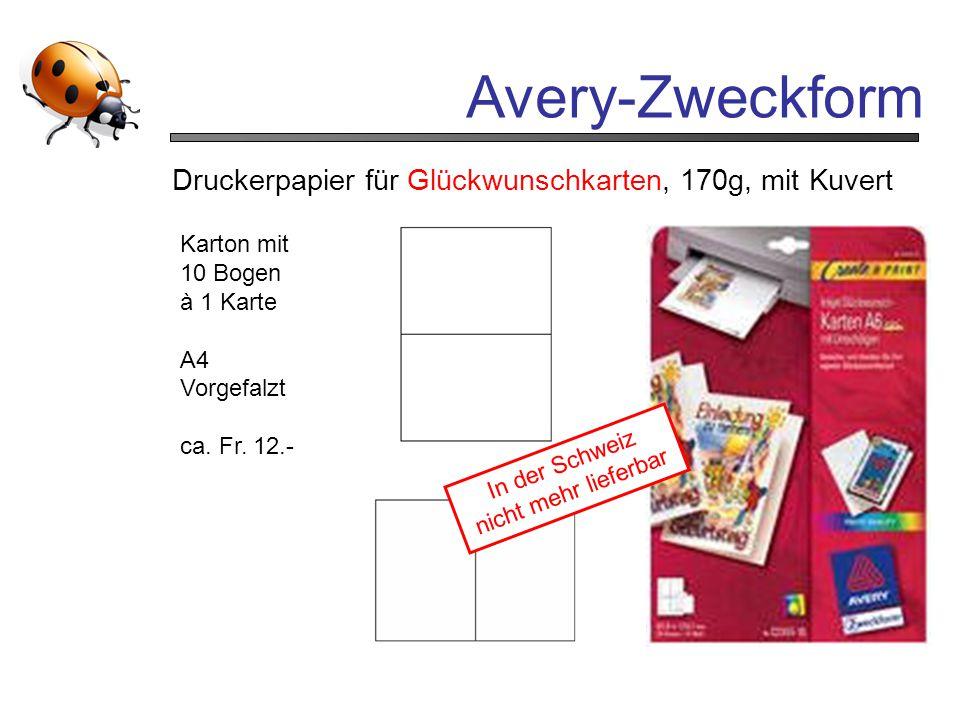 Avery-Zweckform Druckerpapier für Glückwunschkarten, 170g, mit Kuvert Karton mit 10 Bogen à 1 Karte A4 Vorgefalzt ca. Fr. 12.- In der Schweiz nicht me