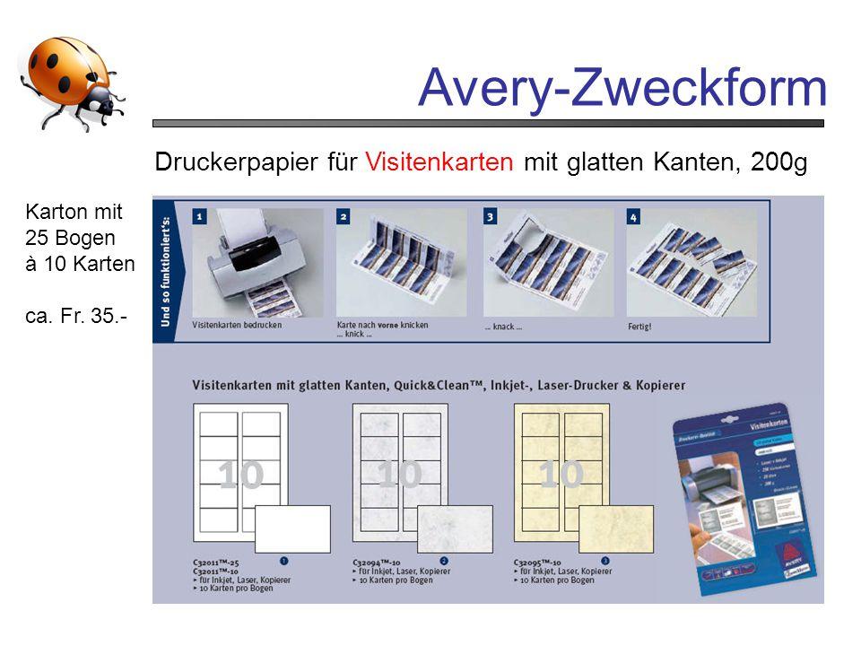 Avery-Zweckform Druckerpapier für Visitenkarten mit glatten Kanten, 200g Karton mit 25 Bogen à 10 Karten ca. Fr. 35.-