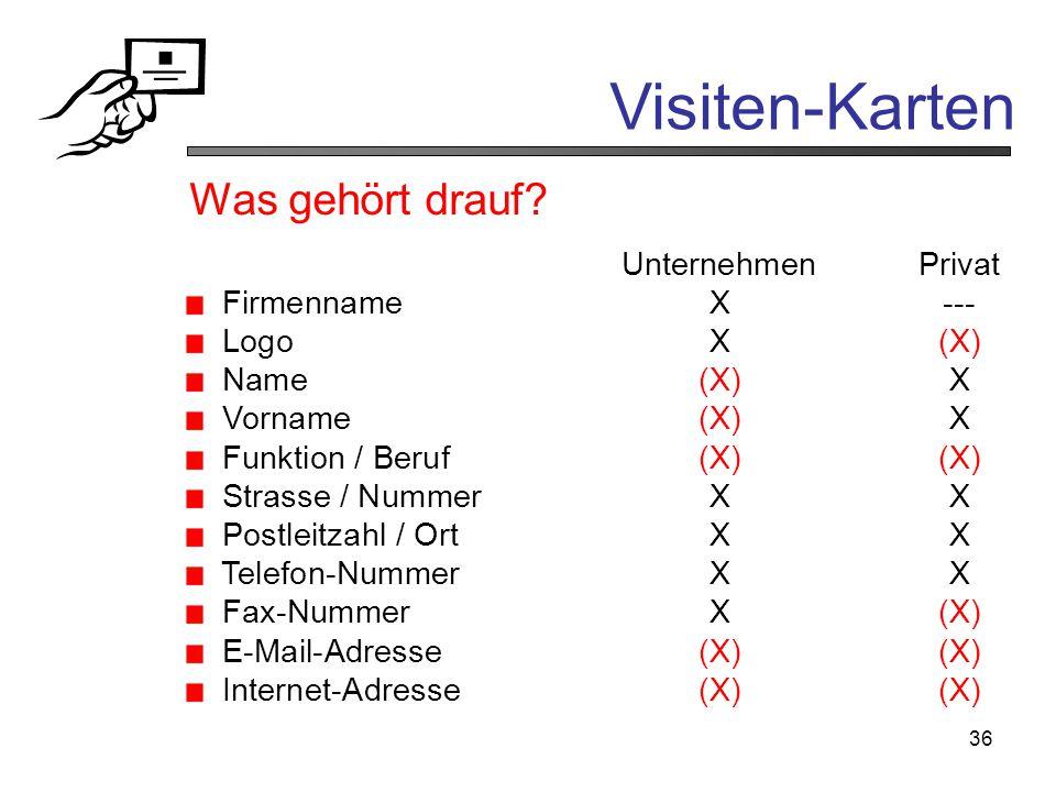 36 Visiten-Karten UnternehmenPrivat FirmennameX--- LogoX(X) Name(X)X Vorname(X)X Funktion / Beruf(X)(X) Strasse / NummerXX Postleitzahl / OrtXX Telefo