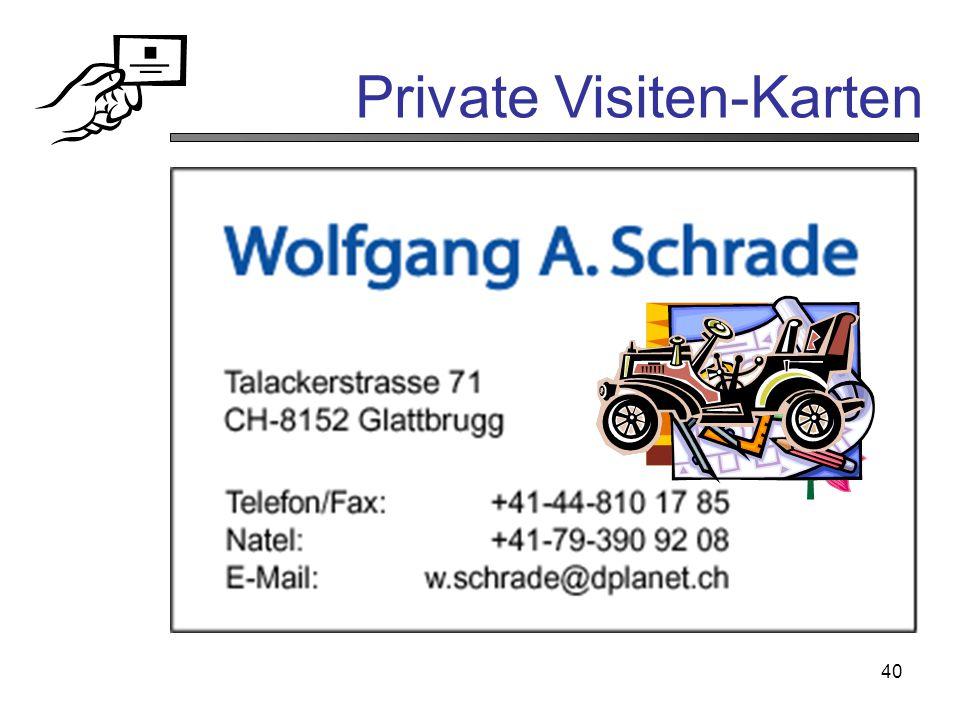40 Private Visiten-Karten