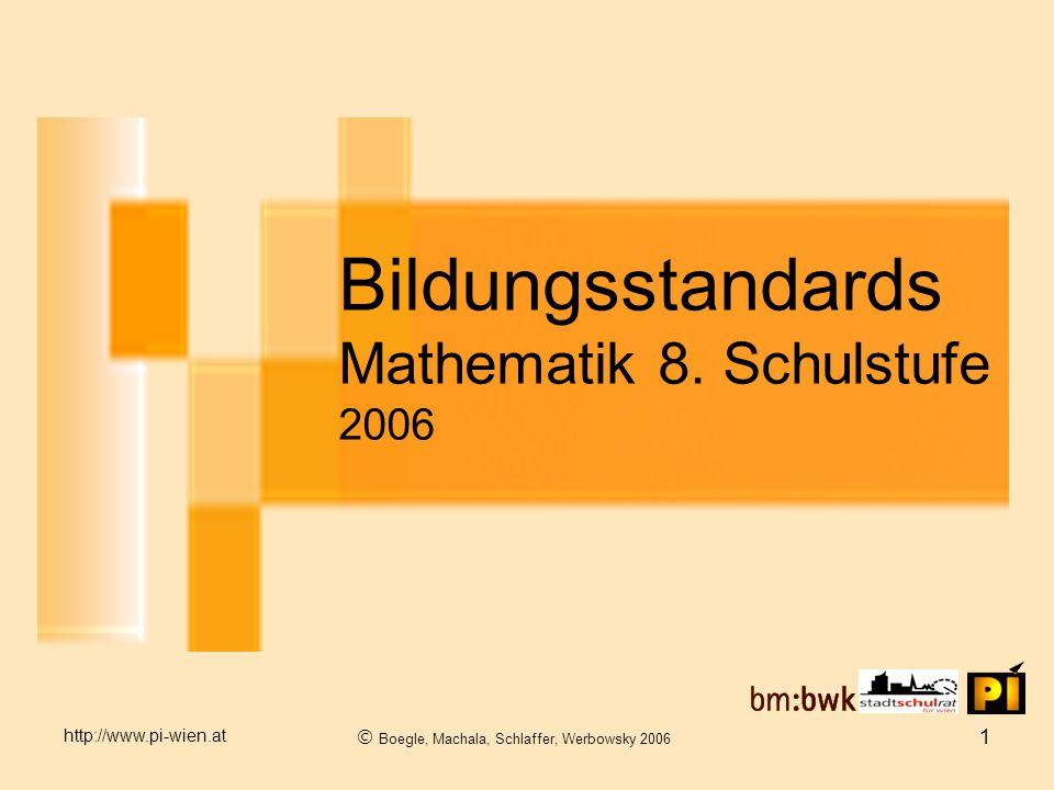 http://www.pi-wien.at  Boegle, Machala, Schlaffer, Werbowsky 2006 1 Bildungsstandards Mathematik 8.