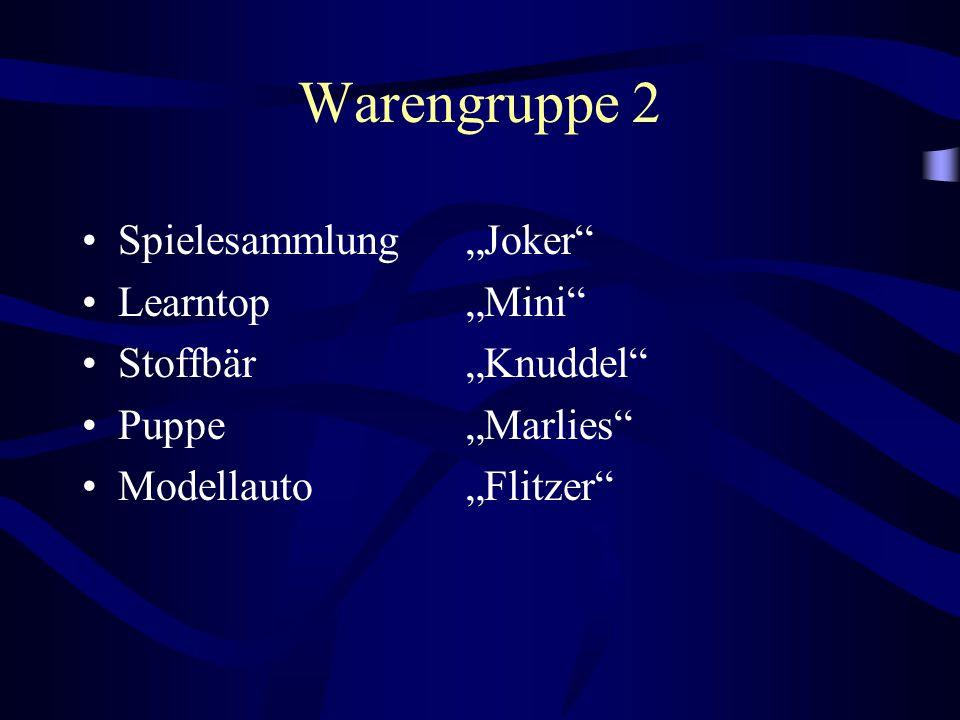 """Warengruppe 2 Spielesammlung """"Joker"""" Learntop """"Mini"""" Stoffbär """"Knuddel"""" Puppe """"Marlies"""" Modellauto """"Flitzer"""""""