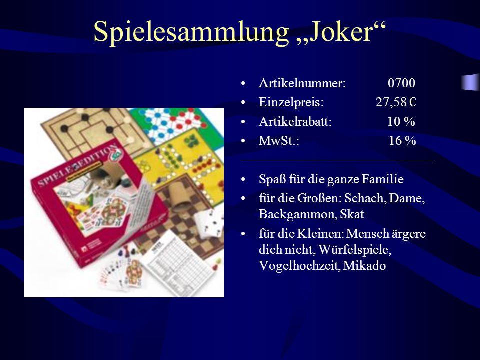 """Spielesammlung """"Joker"""" Artikelnummer: 0700 Einzelpreis: 27,58 € Artikelrabatt: 10 % MwSt.: 16 % Spaß für die ganze Familie für die Großen: Schach, Dam"""