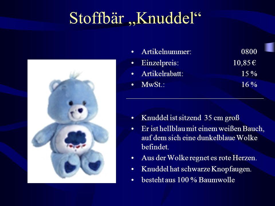 """Stoffbär """"Knuddel"""" Artikelnummer: 0800 Einzelpreis: 10,85 € Artikelrabatt: 15 % MwSt.: 16 % Knuddel ist sitzend 35 cm groß Er ist hellblau mit einem w"""