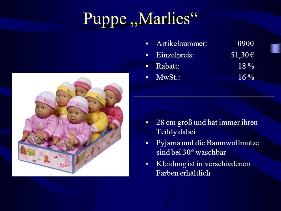 """Puppe """"Marlies"""" Artikelnummer: 0900 Einzelpreis: 51,30 € Rabatt: 18 % MwSt.: 16 % 28 cm groß und hat immer ihren Teddy dabei Pyjama und die Baumwollmü"""