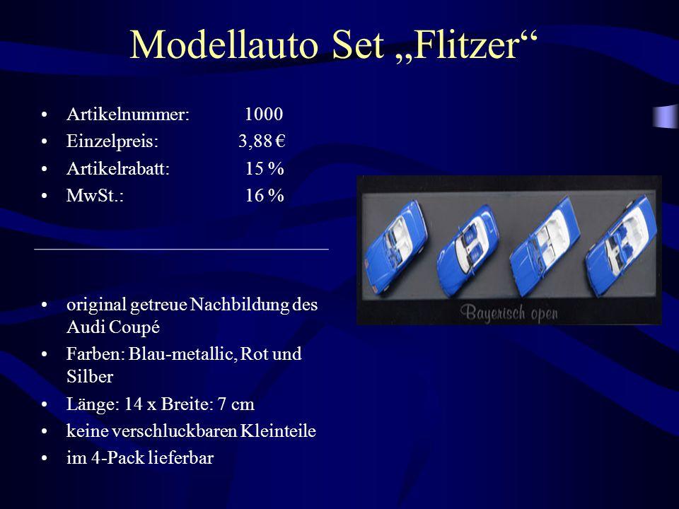 "Modellauto Set ""Flitzer"" Artikelnummer: 1000 Einzelpreis: 3,88 € Artikelrabatt: 15 % MwSt.: 16 % original getreue Nachbildung des Audi Coupé Farben: B"