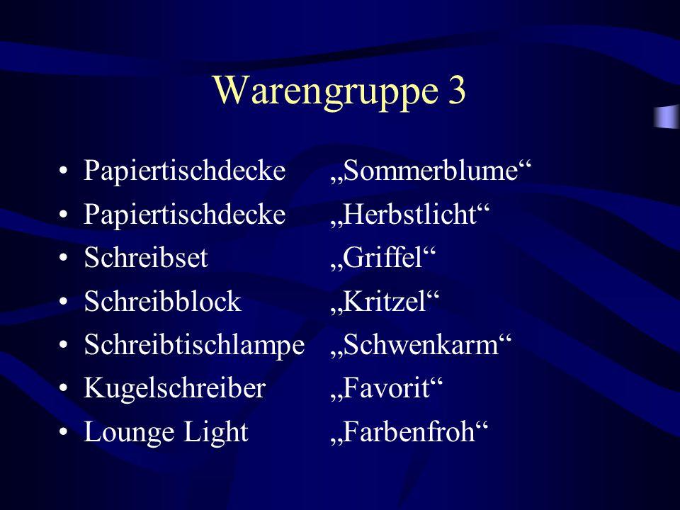 """Warengruppe 3 Papiertischdecke """"Sommerblume"""" Papiertischdecke """"Herbstlicht"""" Schreibset """"Griffel"""" Schreibblock """"Kritzel"""" Schreibtischlampe """"Schwenkarm"""""""
