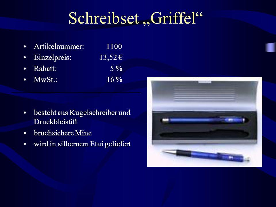 """Schreibset """"Griffel"""" Artikelnummer: 1100 Einzelpreis: 13,52 € Rabatt: 5 % MwSt.: 16 % besteht aus Kugelschreiber und Druckbleistift bruchsichere Mine"""