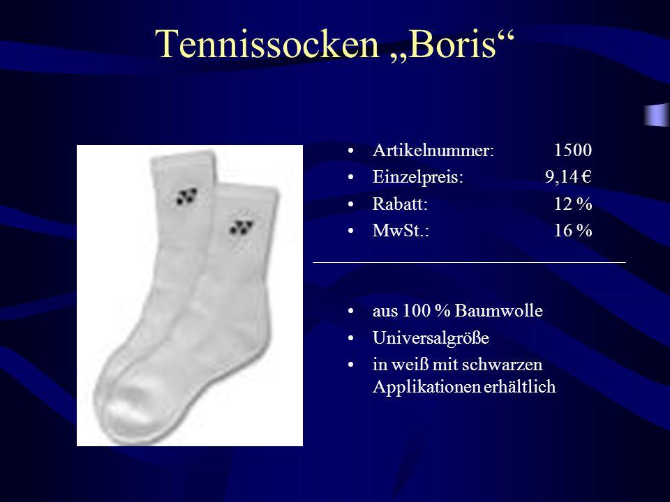 """Tennissocken """"Boris"""" Artikelnummer: 1500 Einzelpreis: 9,14 € Rabatt: 12 % MwSt.: 16 % aus 100 % Baumwolle Universalgröße in weiß mit schwarzen Applika"""