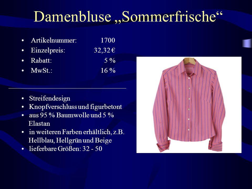 """Damenbluse """"Sommerfrische"""" Artikelnummer: 1700 Einzelpreis: 32,32 € Rabatt: 5 % MwSt.: 16 % Streifendesign Knopfverschluss und figurbetont aus 95 % Ba"""
