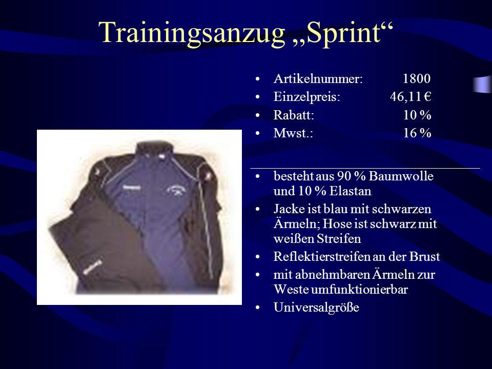 """Trainingsanzug """"Sprint"""" Artikelnummer: 1800 Einzelpreis: 46,11 € Rabatt: 10 % Mwst.: 16 % besteht aus 90 % Baumwolle und 10 % Elastan Jacke ist blau m"""