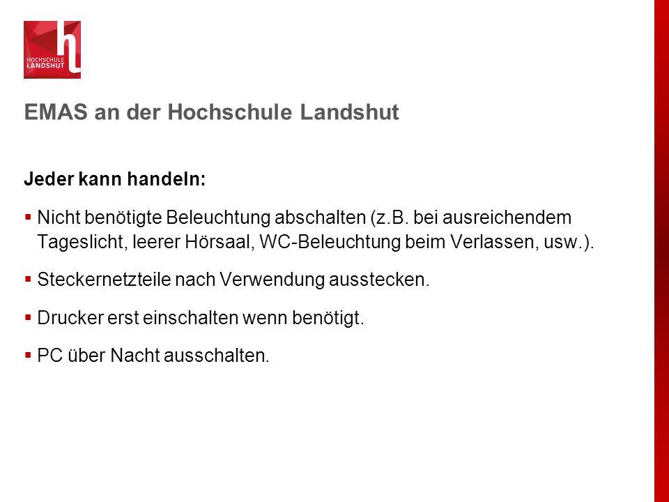 EMAS an der Hochschule Landshut Jeder kann handeln:  Nicht benötigte Beleuchtung abschalten (z.B. bei ausreichendem Tageslicht, leerer Hörsaal, WC-Be