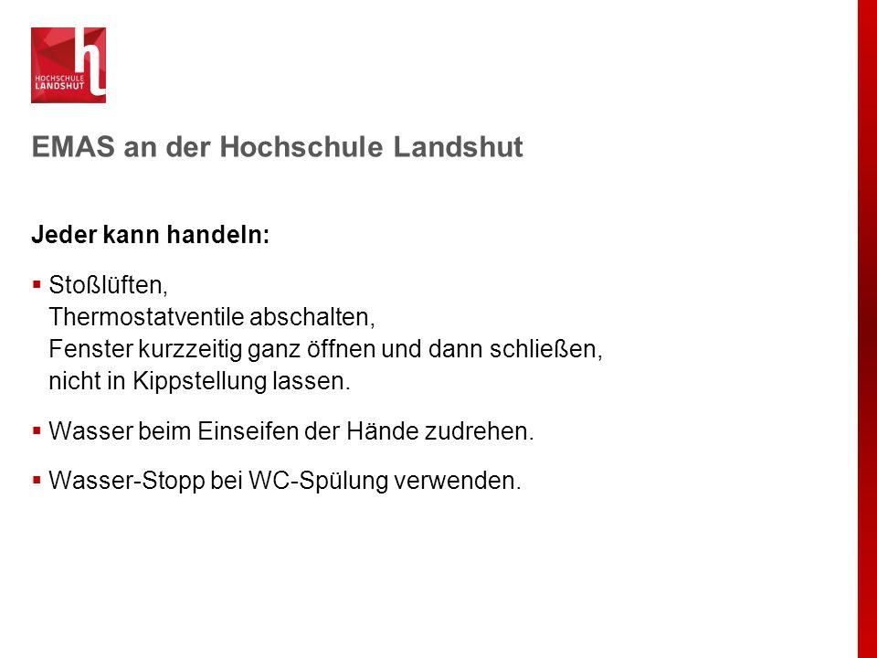 EMAS an der Hochschule Landshut Jeder kann handeln:  Stoßlüften, Thermostatventile abschalten, Fenster kurzzeitig ganz öffnen und dann schließen, nic