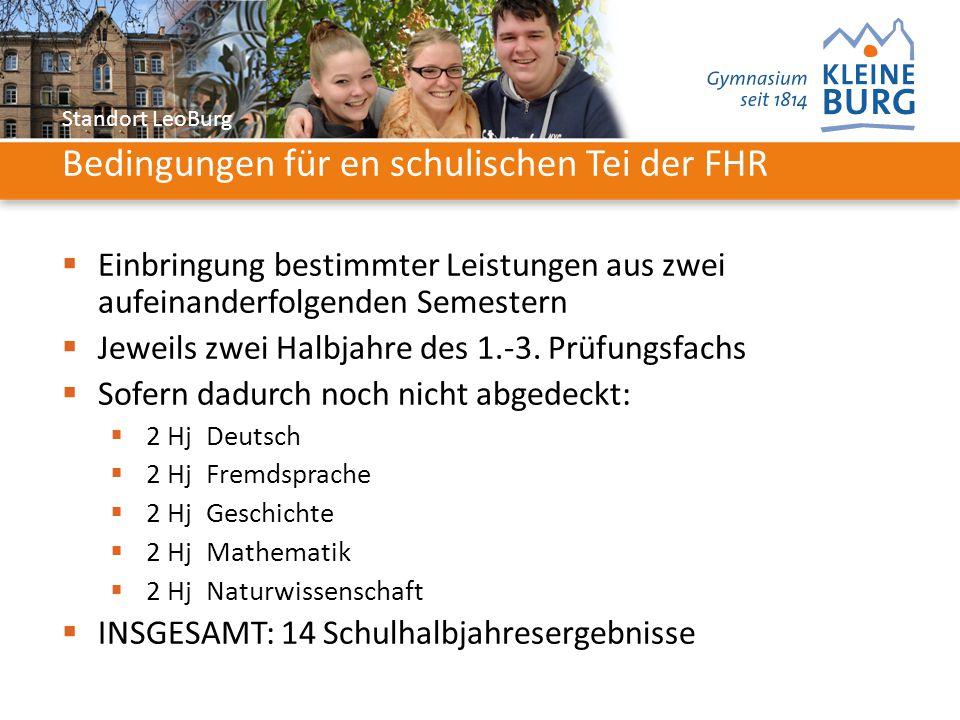 Standort LeoBurg Bedingungen für en schulischen Tei der FHR  Einbringung bestimmter Leistungen aus zwei aufeinanderfolgenden Semestern  Jeweils zwei Halbjahre des 1.-3.