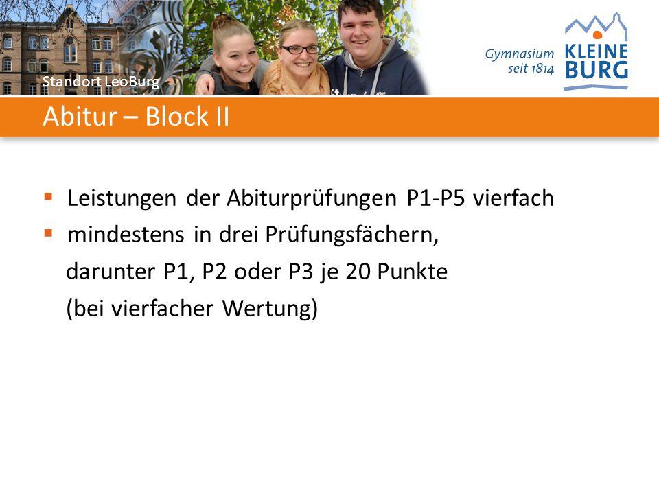 Standort LeoBurg Abitur – Block II  Leistungen der Abiturprüfungen P1-P5 vierfach  mindestens in drei Prüfungsfächern, darunter P1, P2 oder P3 je 20 Punkte (bei vierfacher Wertung)