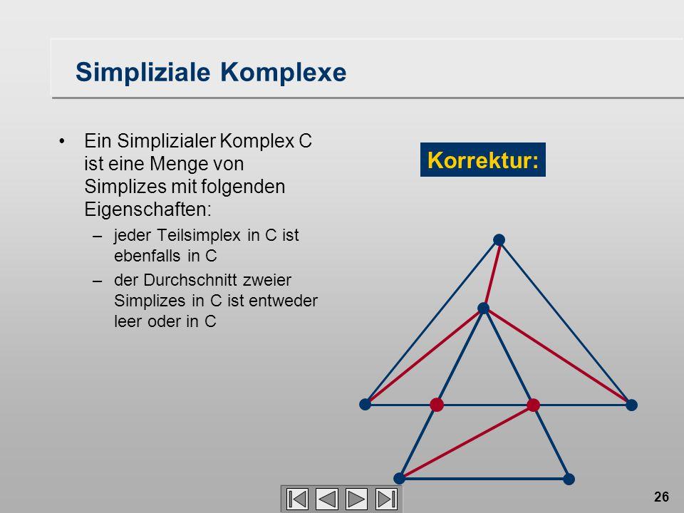26 Simpliziale Komplexe Ein Simplizialer Komplex C ist eine Menge von Simplizes mit folgenden Eigenschaften: –jeder Teilsimplex in C ist ebenfalls in C –der Durchschnitt zweier Simplizes in C ist entweder leer oder in C Korrektur: