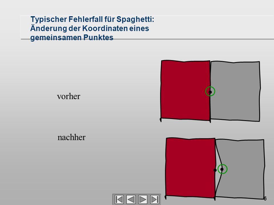 6 Typischer Fehlerfall für Spaghetti: Änderung der Koordinaten eines gemeinsamen Punktes vorher nachher