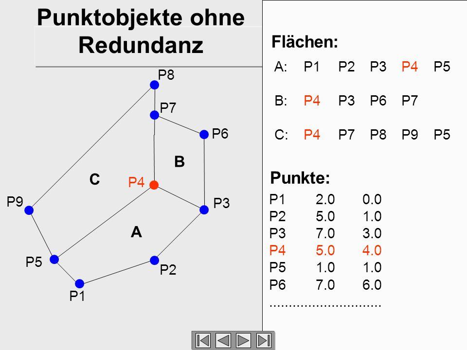 7 P2 P1 P3 P6 P7 P8 P9 A B C Flächen: A: P1P2P3P4P5 B: P4 P3 P6 P7 C: P4P7 P8 P9P5 P5 P4 Punkte: P12.00.0 P25.01.0 P37.03.0 P45.04.0 P51.01.0 P67.06.0