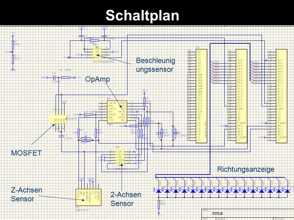 Schaltplan OpAmp MOSFET 2-Achsen Sensor Z-Achsen Sensor Richtungsanzeige Beschleunig ungssensor