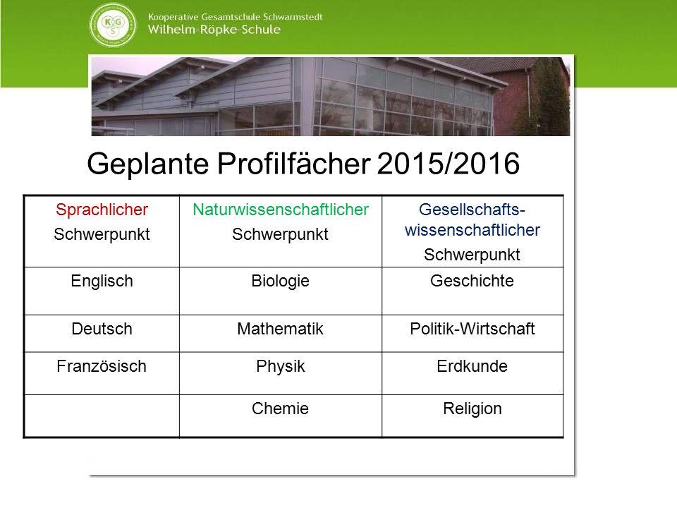 Geplante Profilfächer 2015/2016 Sprachlicher Schwerpunkt Naturwissenschaftlicher Schwerpunkt Gesellschafts- wissenschaftlicher Schwerpunkt EnglischBio