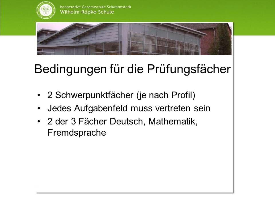 Bedingungen für die Prüfungsfächer 2 Schwerpunktfächer (je nach Profil) Jedes Aufgabenfeld muss vertreten sein 2 der 3 Fächer Deutsch, Mathematik, Fre