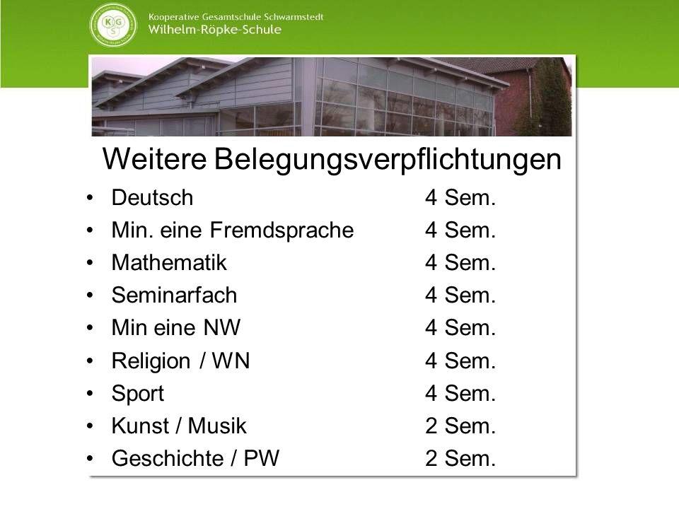 Weitere Belegungsverpflichtungen Deutsch4 Sem. Min. eine Fremdsprache4 Sem. Mathematik4 Sem. Seminarfach4 Sem. Min eine NW4 Sem. Religion / WN 4 Sem.
