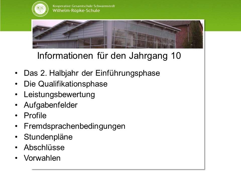 Informationen für den Jahrgang 10 Das 2. Halbjahr der Einführungsphase Die Qualifikationsphase Leistungsbewertung Aufgabenfelder Profile Fremdsprachen