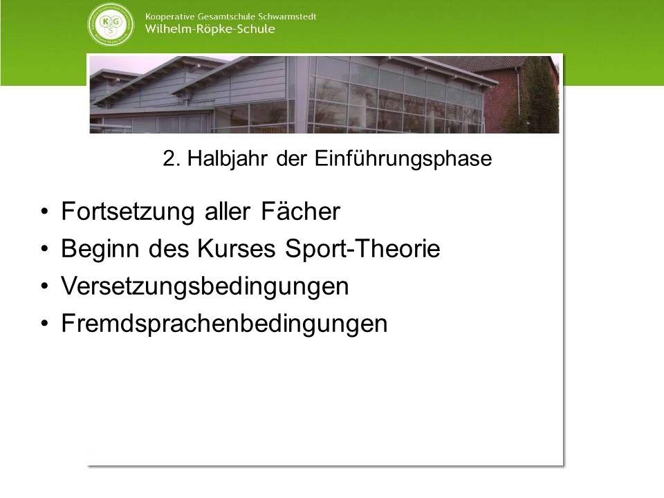 2. Halbjahr der Einführungsphase Fortsetzung aller Fächer Beginn des Kurses Sport-Theorie Versetzungsbedingungen Fremdsprachenbedingungen