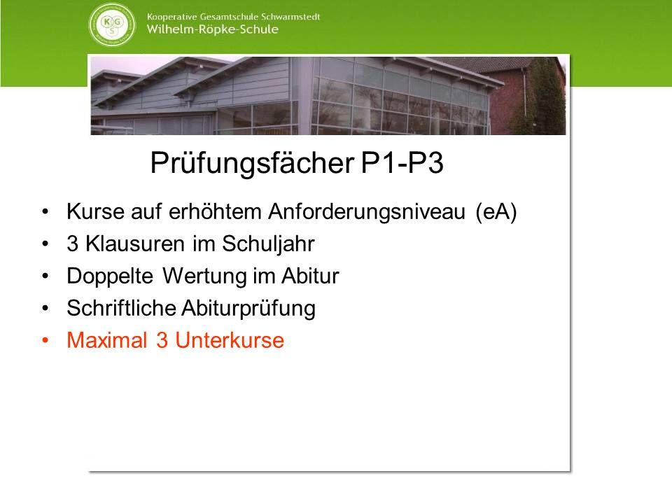Prüfungsfächer P1-P3 Kurse auf erhöhtem Anforderungsniveau (eA) 3 Klausuren im Schuljahr Doppelte Wertung im Abitur Schriftliche Abiturprüfung Maximal