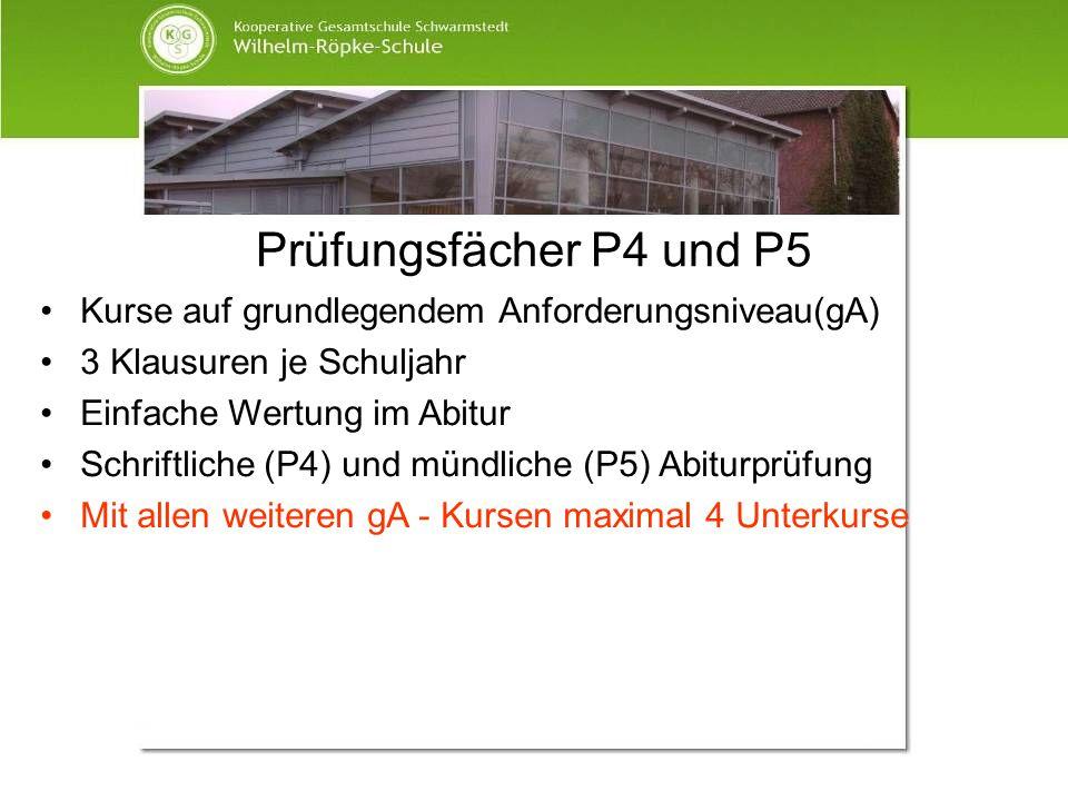 Prüfungsfächer P4 und P5 Kurse auf grundlegendem Anforderungsniveau(gA) 3 Klausuren je Schuljahr Einfache Wertung im Abitur Schriftliche (P4) und münd