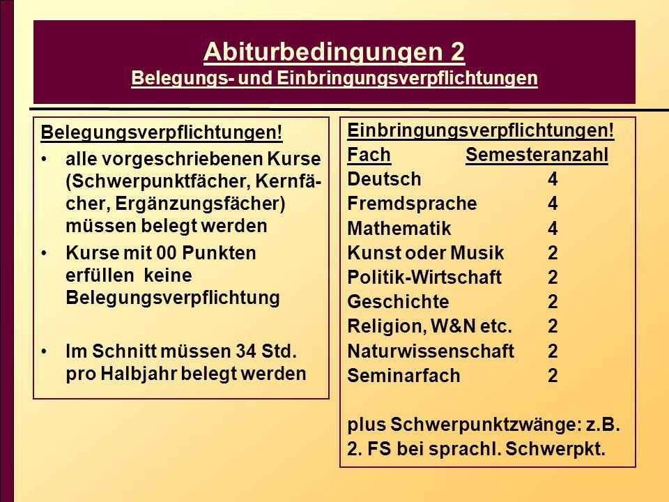 Abiturbedingungen 2 Belegungs- und Einbringungsverpflichtungen Belegungsverpflichtungen! alle vorgeschriebenen Kurse (Schwerpunktfächer, Kernfä- cher,