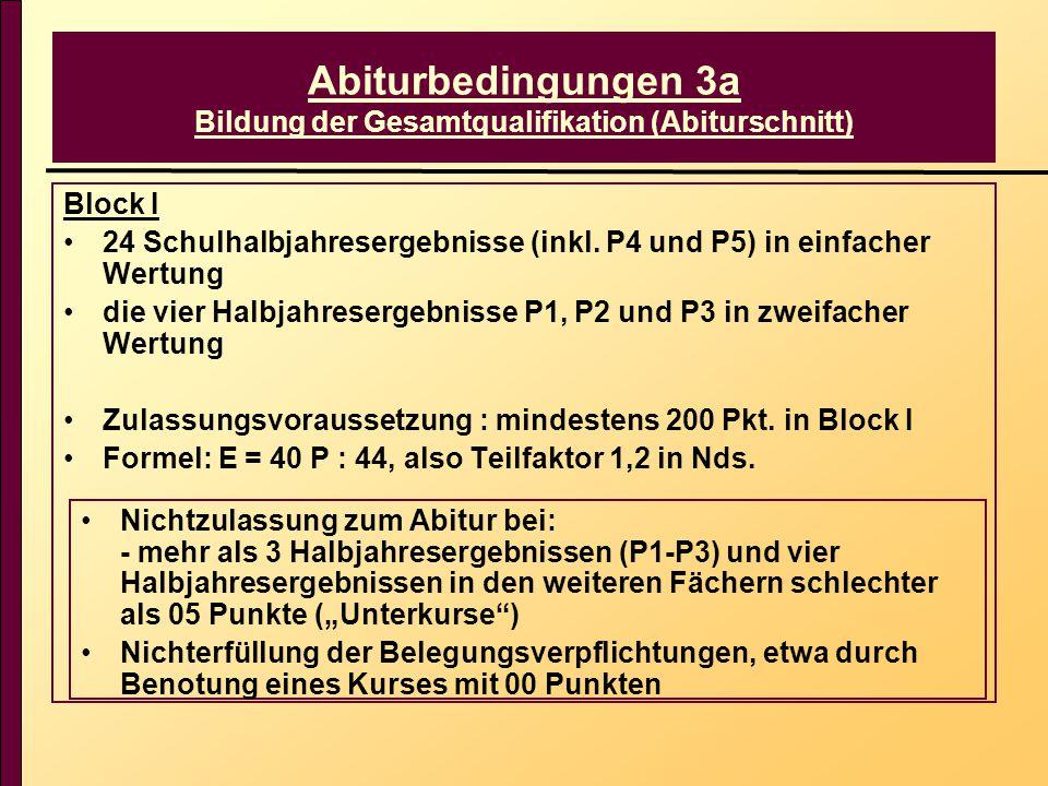 Abiturbedingungen 3a Bildung der Gesamtqualifikation (Abiturschnitt) Block I 24 Schulhalbjahresergebnisse (inkl. P4 und P5) in einfacher Wertung die v