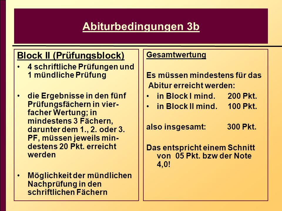 Abiturbedingungen 3b Block II (Prüfungsblock) 4 schriftliche Prüfungen und 1 mündliche Prüfung die Ergebnisse in den fünf Prüfungsfächern in vier- facher Wertung; in mindestens 3 Fächern, darunter dem 1., 2.