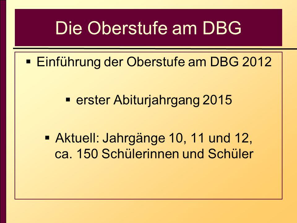 Die Oberstufe am DBG  Einführung der Oberstufe am DBG 2012  erster Abiturjahrgang 2015  Aktuell: Jahrgänge 10, 11 und 12, ca. 150 Schülerinnen und