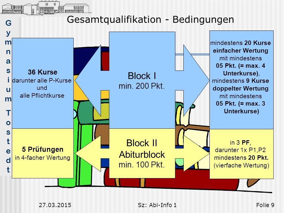 GymnasiumTostedtGymnasiumTostedt 27.03.2015Sz: Abi-Info 1Folie 9 Block I min.
