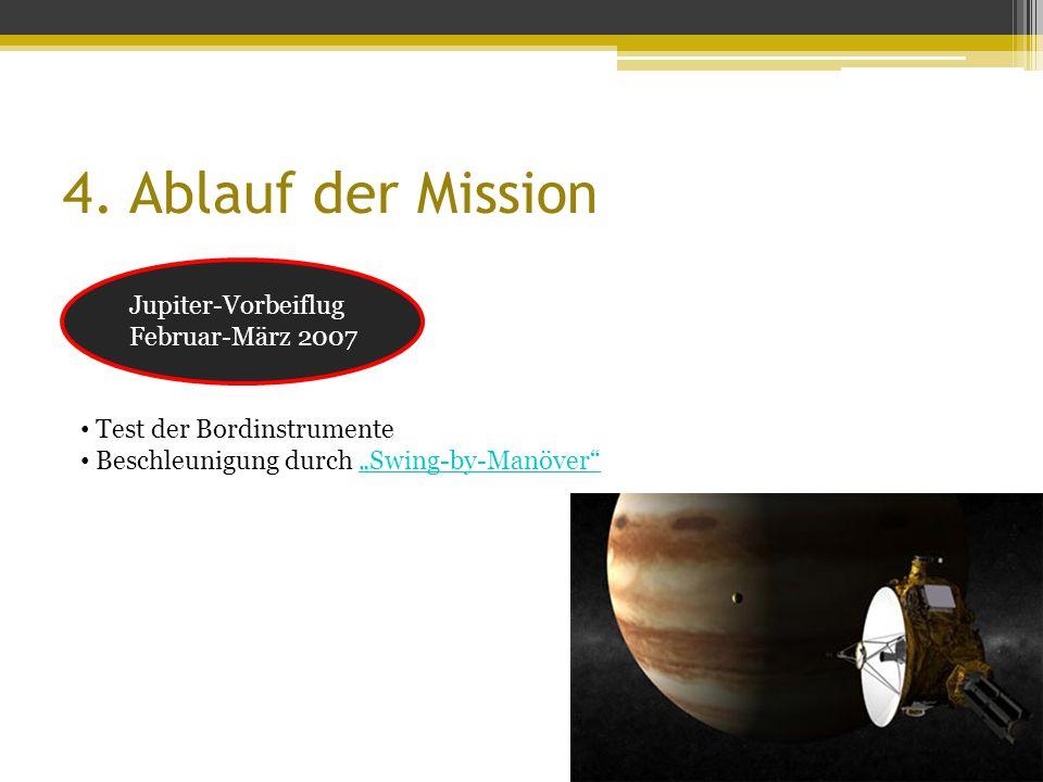 """4. Ablauf der Mission Jupiter-Vorbeiflug Februar-März 2007 Test der Bordinstrumente Beschleunigung durch """"Swing-by-Manöver""""""""Swing-by-Manöver"""""""