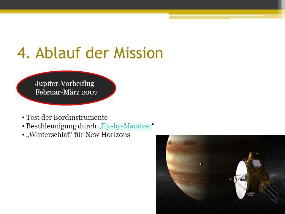 """4. Ablauf der Mission Jupiter-Vorbeiflug Februar-März 2007 Test der Bordinstrumente Beschleunigung durch """"Fly-by-Manöver""""Fly-by-Manöver """"Winterschlaf"""""""