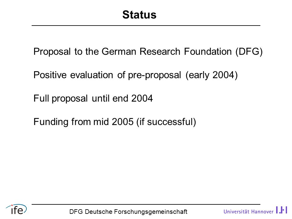 Status DFG Deutsche Forschungsgemeinschaft Proposal to the German Research Foundation (DFG) Positive evaluation of pre-proposal (early 2004) Full proposal until end 2004 Funding from mid 2005 (if successful)