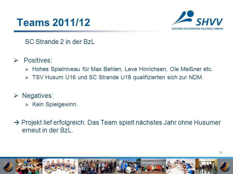 11 Teams 2011/12 SC Strande 2 in der BzL  Positives:  Hohes Spielniveau für Max Behlen, Leve Hinrichsen, Ole Meißner etc.  TSV Husum U16 und SC Str