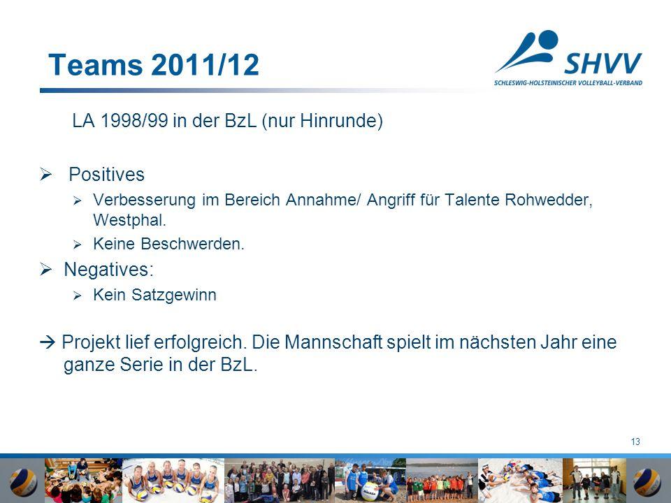 13 Teams 2011/12 LA 1998/99 in der BzL (nur Hinrunde)  Positives  Verbesserung im Bereich Annahme/ Angriff für Talente Rohwedder, Westphal.  Keine