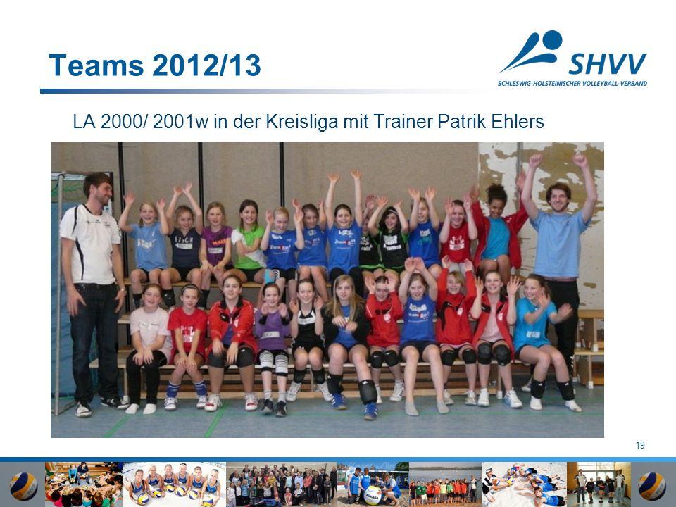 19 Teams 2012/13 LA 2000/ 2001w in der Kreisliga mit Trainer Patrik Ehlers