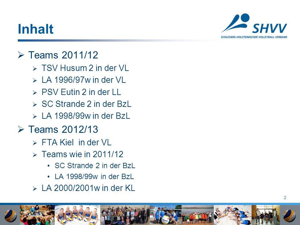 2 Inhalt  Teams 2011/12  TSV Husum 2 in der VL  LA 1996/97w in der VL  PSV Eutin 2 in der LL  SC Strande 2 in der BzL  LA 1998/99w in der BzL  Teams 2012/13  FTA Kiel in der VL  Teams wie in 2011/12 SC Strande 2 in der BzL LA 1998/99w in der BzL  LA 2000/2001w in der KL
