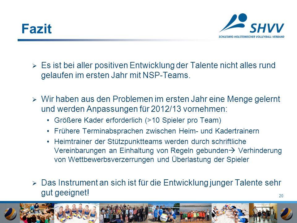 20 Fazit  Es ist bei aller positiven Entwicklung der Talente nicht alles rund gelaufen im ersten Jahr mit NSP-Teams.  Wir haben aus den Problemen im