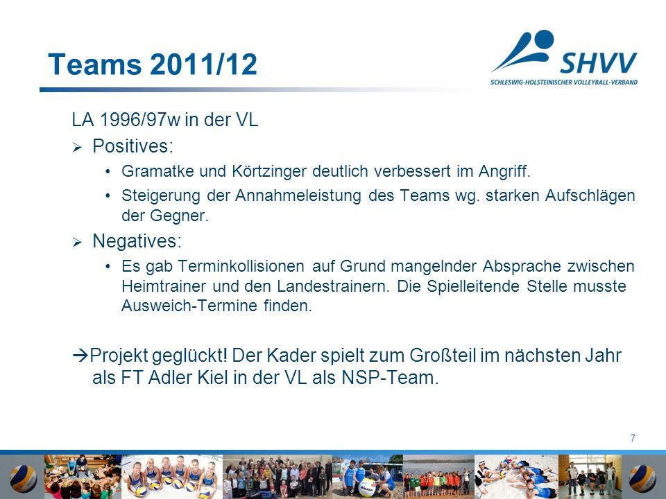 7 Teams 2011/12 LA 1996/97w in der VL  Positives: Gramatke und Körtzinger deutlich verbessert im Angriff. Steigerung der Annahmeleistung des Teams wg