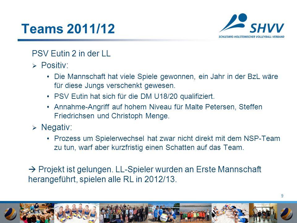 9 Teams 2011/12 PSV Eutin 2 in der LL  Positiv: Die Mannschaft hat viele Spiele gewonnen, ein Jahr in der BzL wäre für diese Jungs verschenkt gewesen